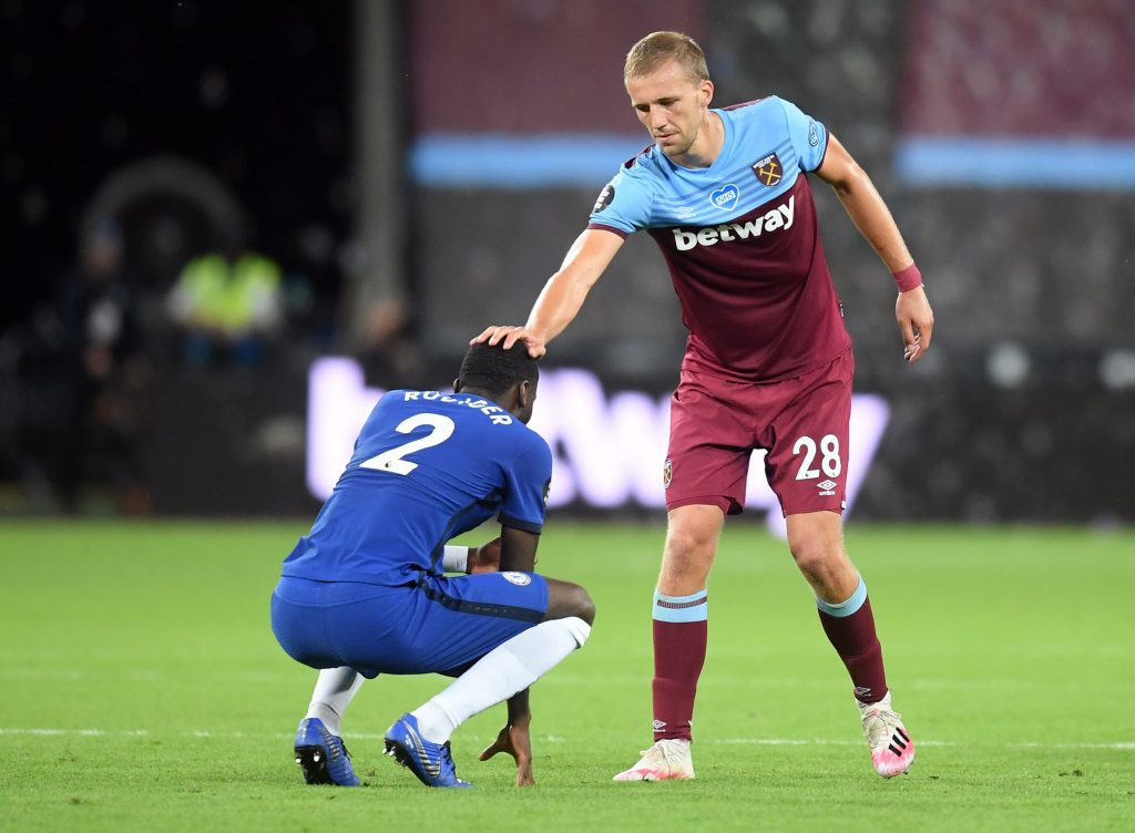 Bent urges West Ham United to activate Soucek's purchase clause (Soucek consoling Rudiger in the photo)