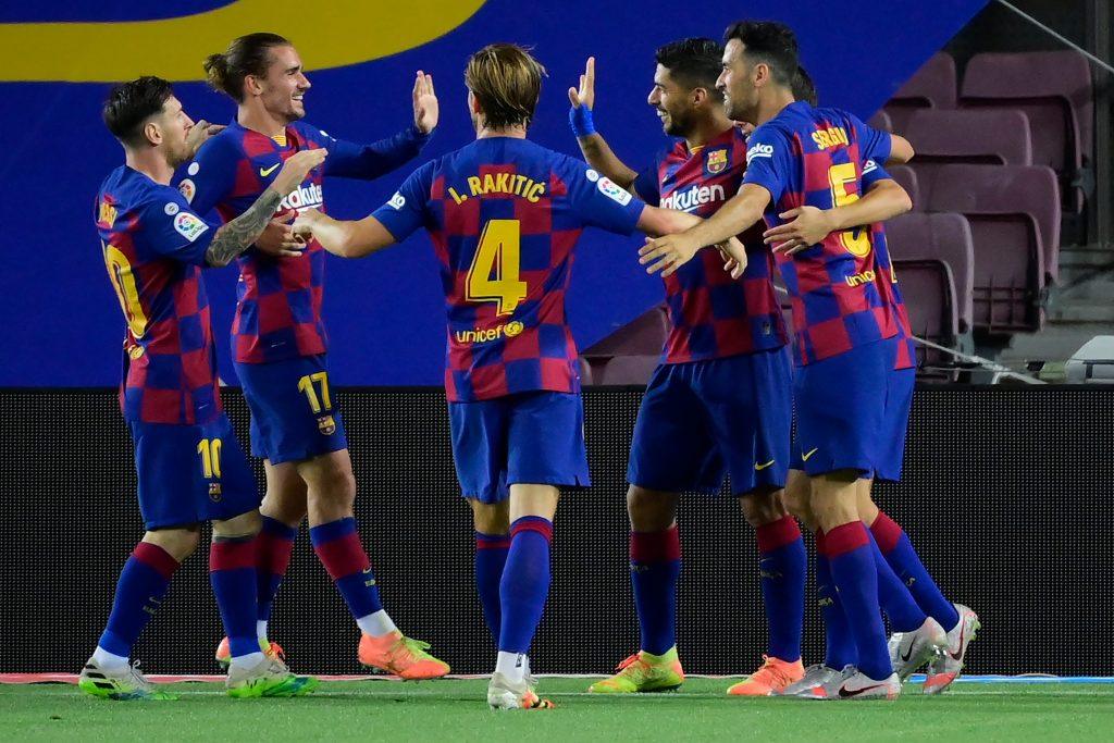 Barcelona Player Ratings Vs Espanyol - Barcelona celebrate the goal