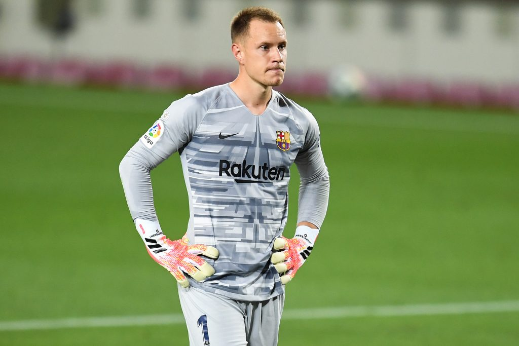 Barcelona's ter Stegen pushing to comeback vs Real Madrid (ter Stegen is seen in the picture)