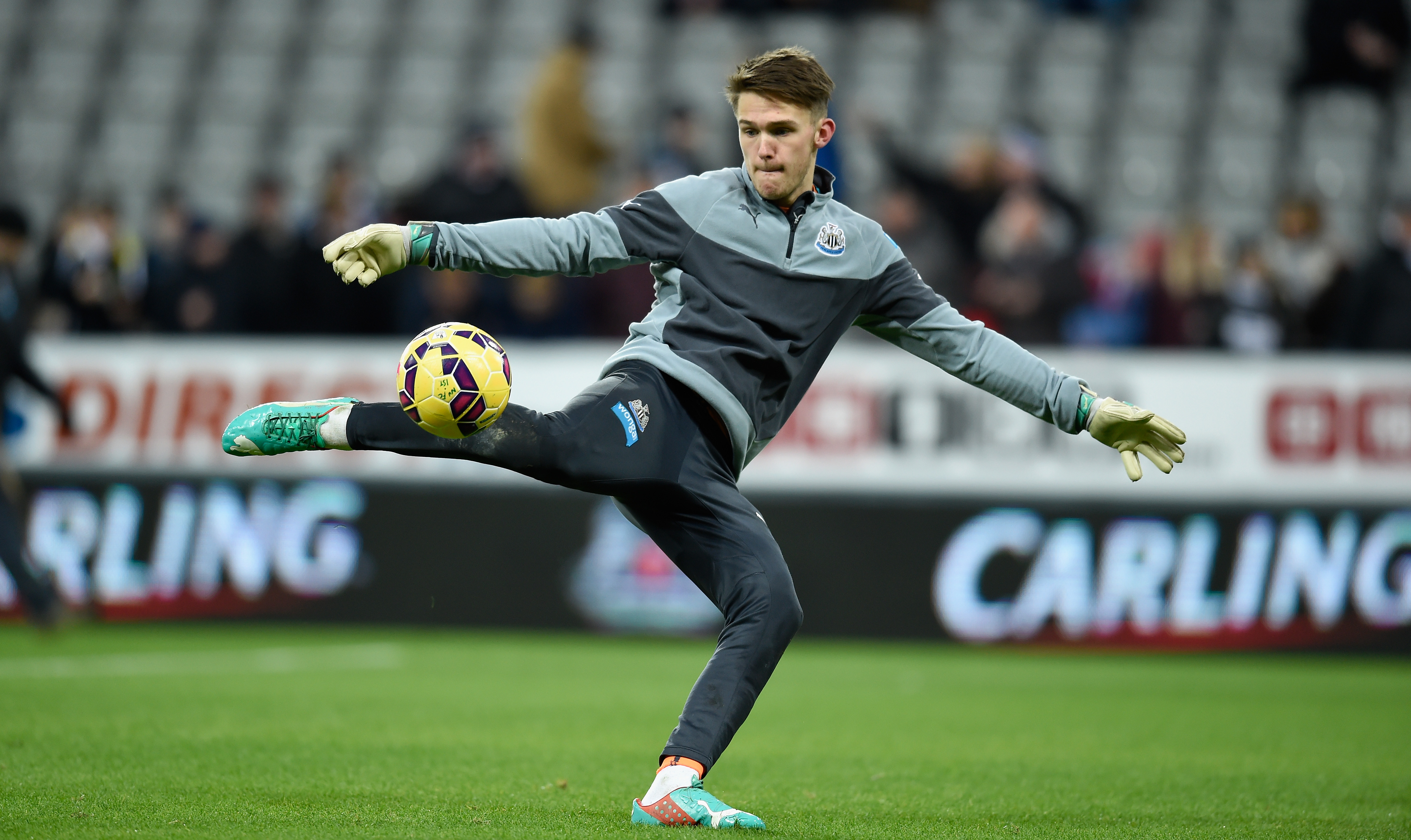 Arsenal eyeing a move for Newcastle United's Freddie Woodman who is in action in the picture
