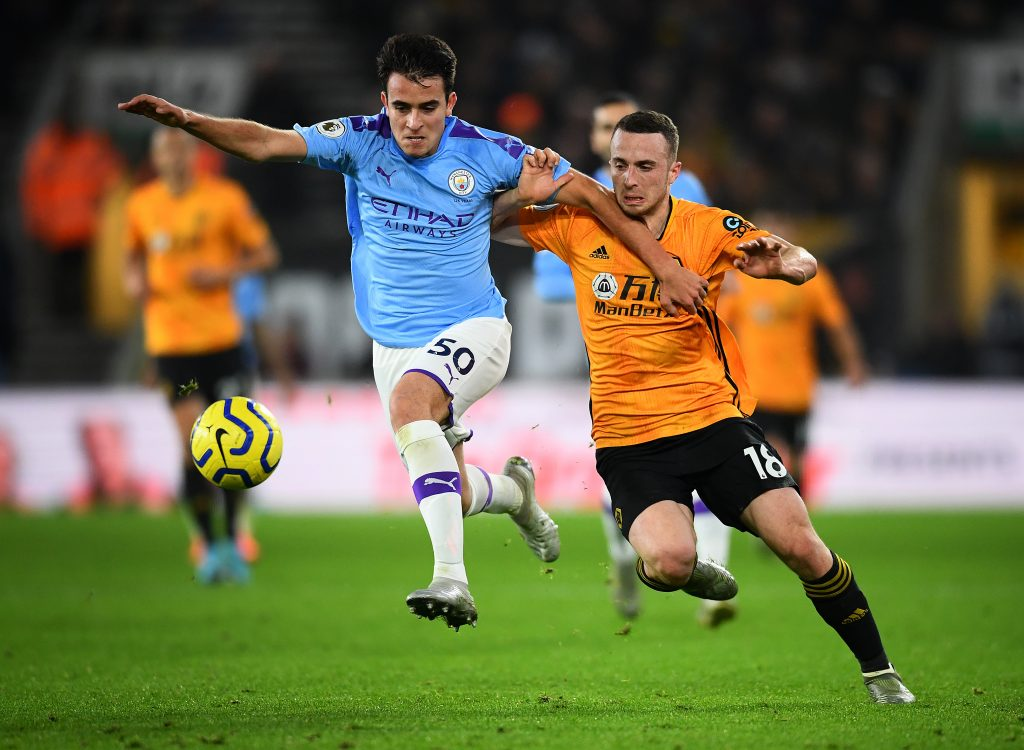 Barcelona eyeing an improved offer for Manchester City's Garcia who is seen in the picture