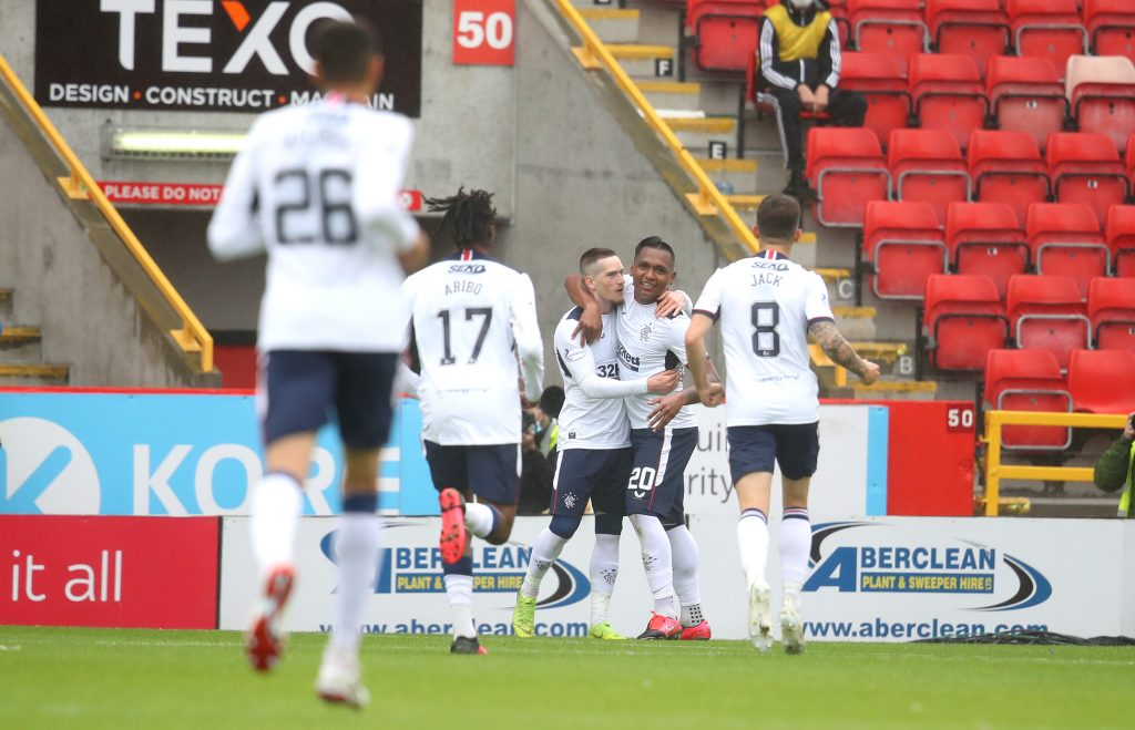 Predicted 4-3-3 Rangers Lineup Vs Bayer Leverkusen - Morelos and Kent celebrate a goal