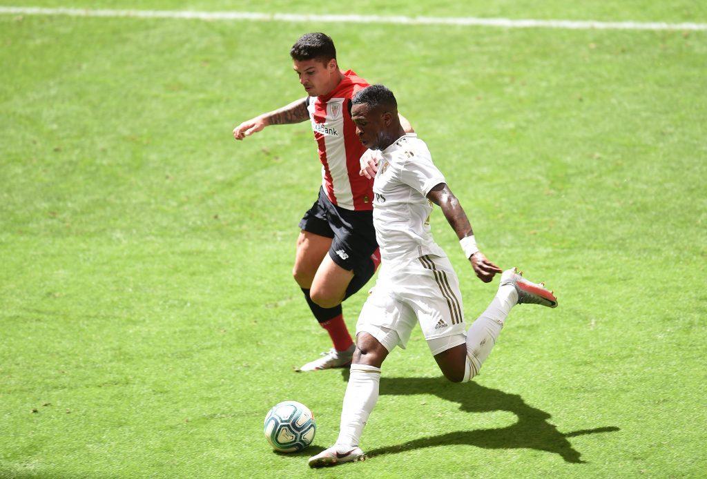Real Madrid winger Vinicius is on Paris Saint-Germain's radar (Vinicius Junior is seen in the picture)