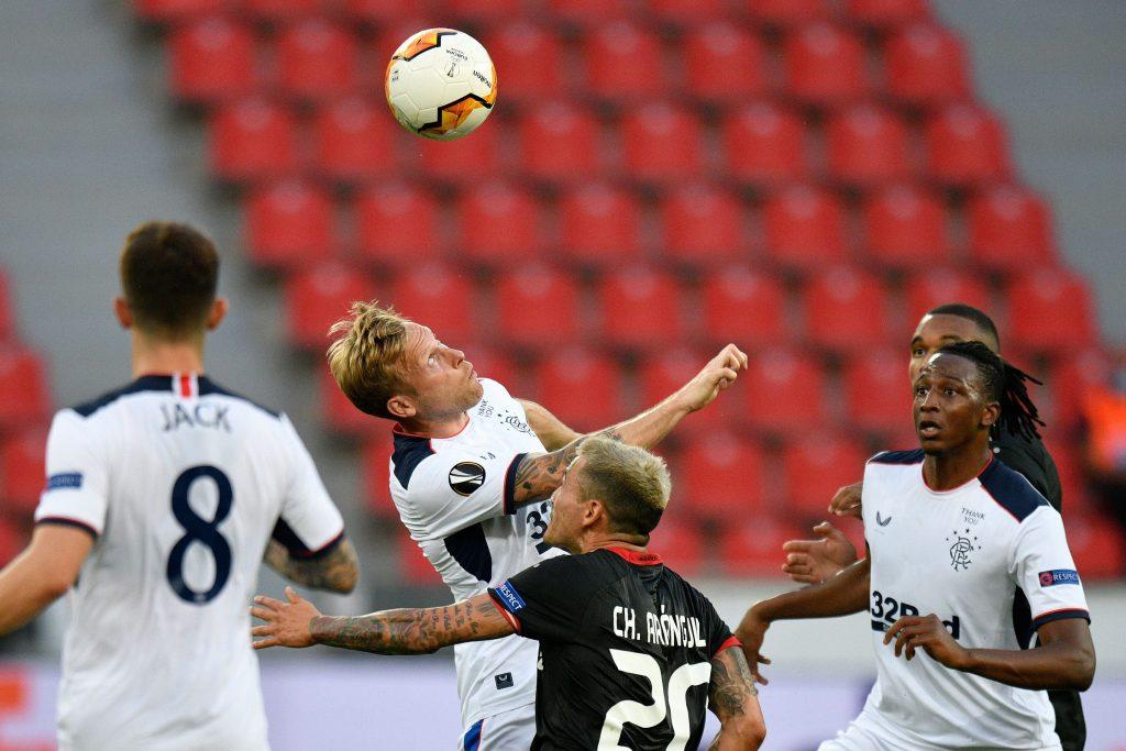 Rangers Player Ratings Vs Bayer Leverkusen - Arfield vies for the ball