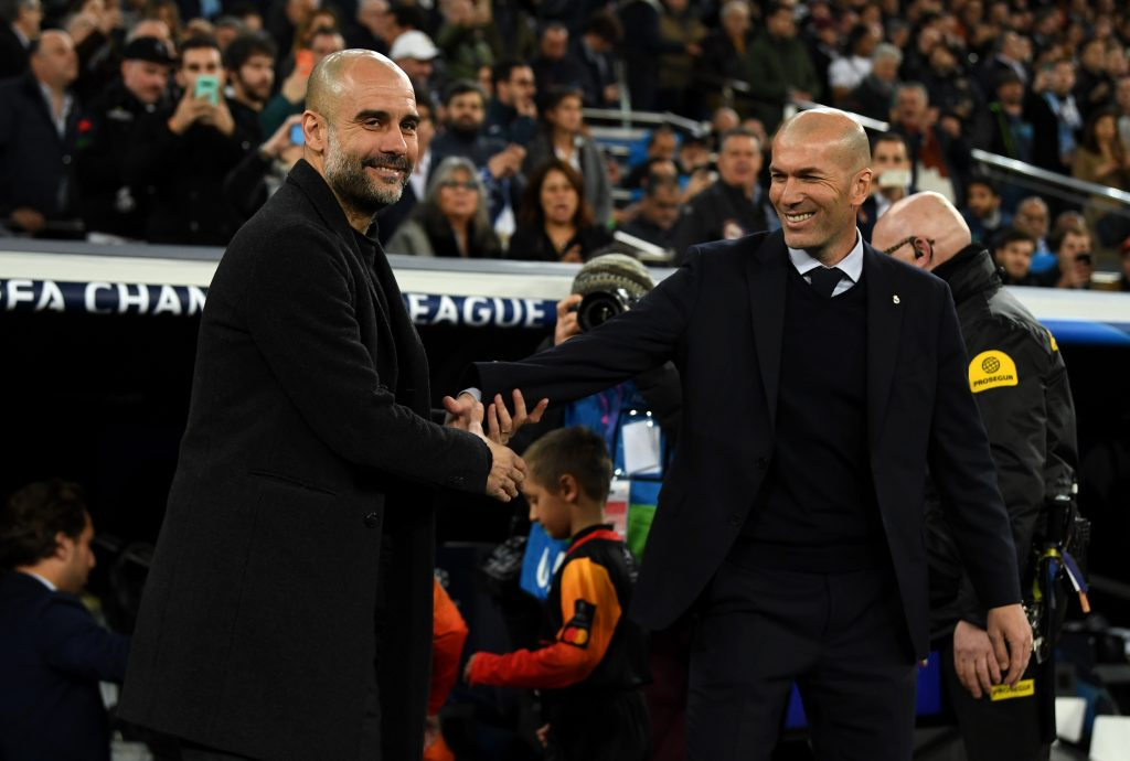 Manchester City Vs Real Madrid Tactical Preview (Pep Guardiola greeting Zinedine Zidane in the picture)
