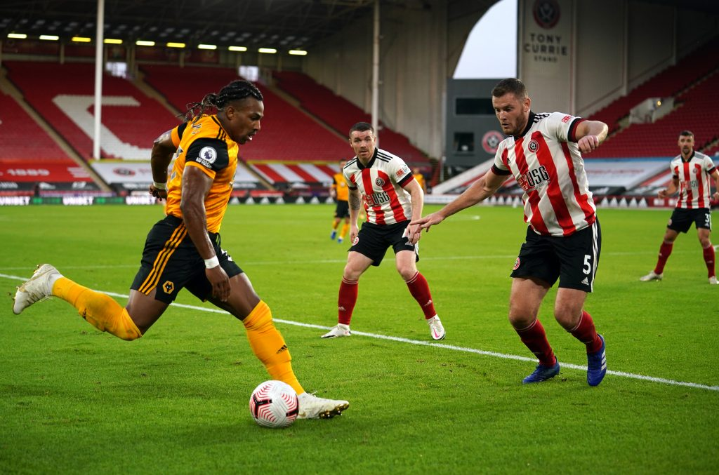 Wolves player ratings vs Sheffield United (Wolves' Adama Traore is seen in the picture)