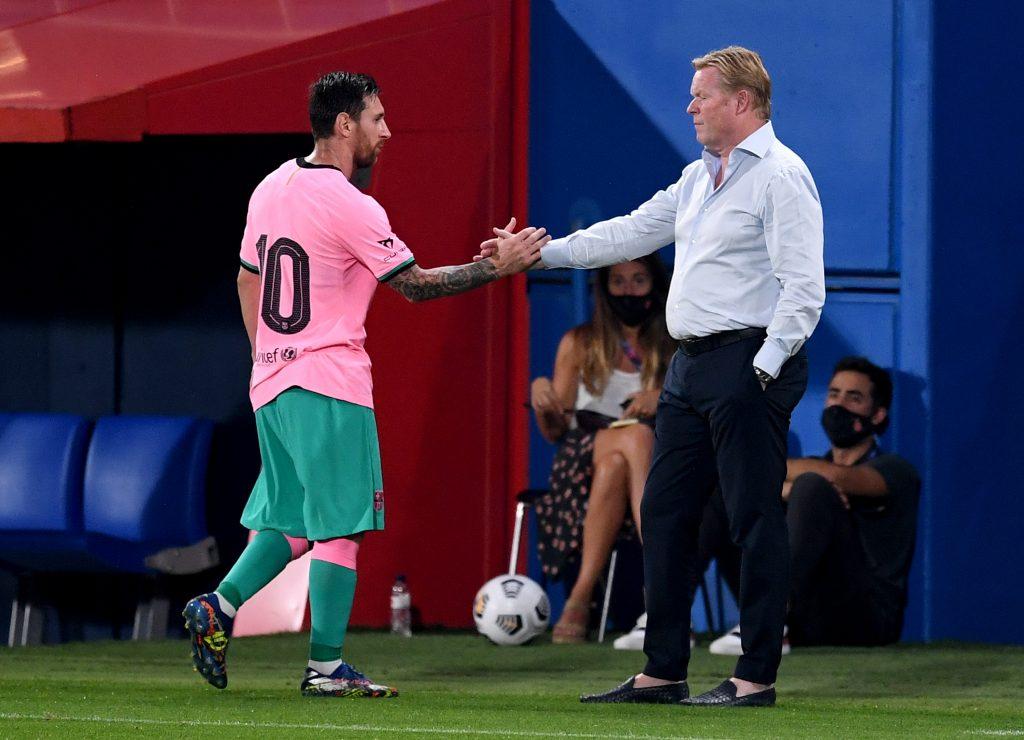 4-2-3-1 Barcelona Predicted Lineup Vs Real Madrid (Barcelona's Lionel Messi shaking hands with Ronald Koeman in the picture)
