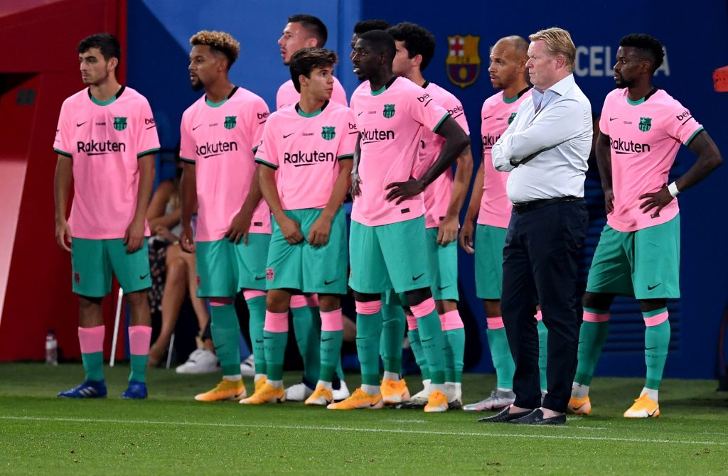 4-2-3-1 Barcelona Predicted Lineup Vs Getafe (Barcelona players and manager Ronald Koeman are seen in the photo)