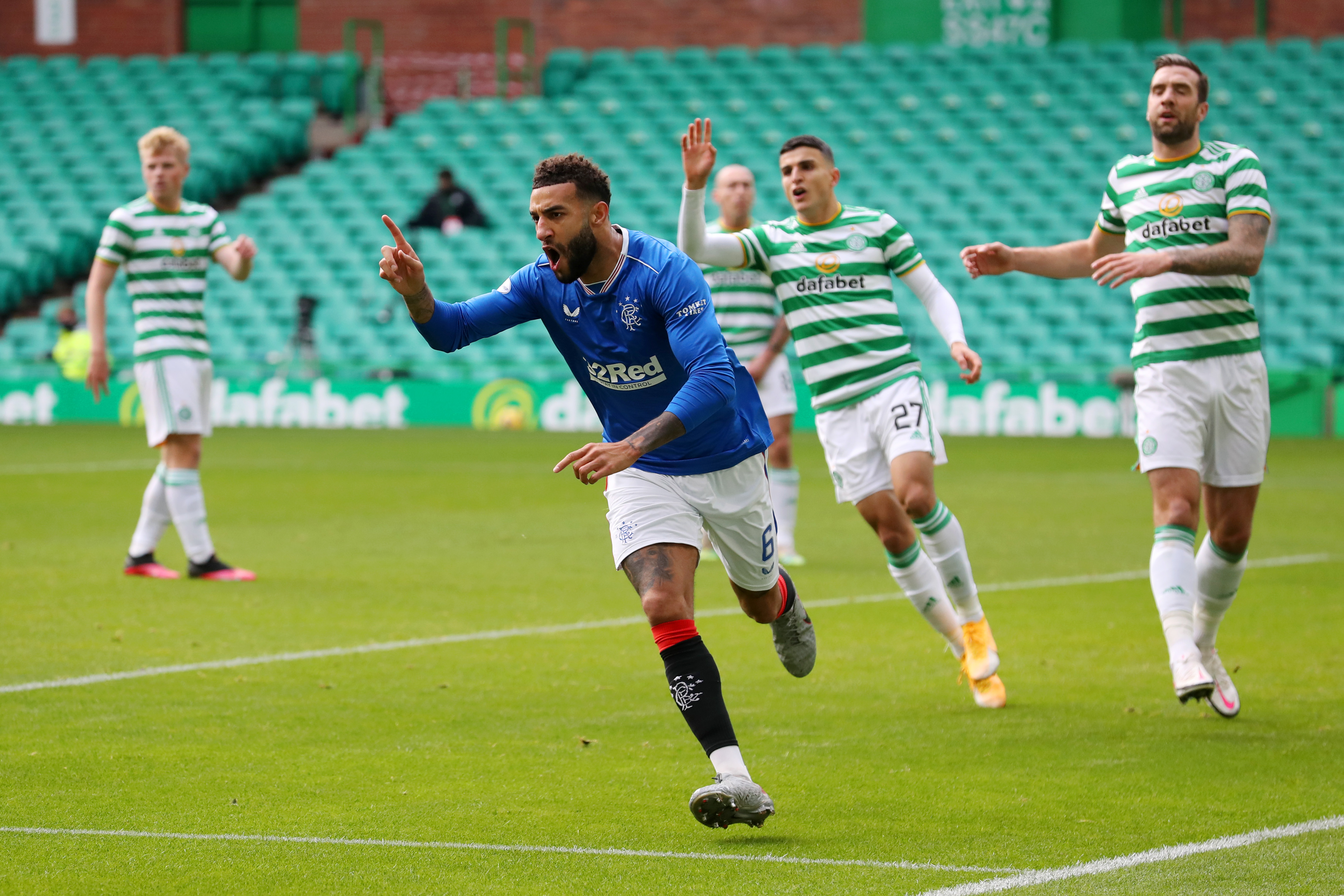 A Tactical Breakdown Of How Rangers Outclassed Celtic - Goldson celebrates