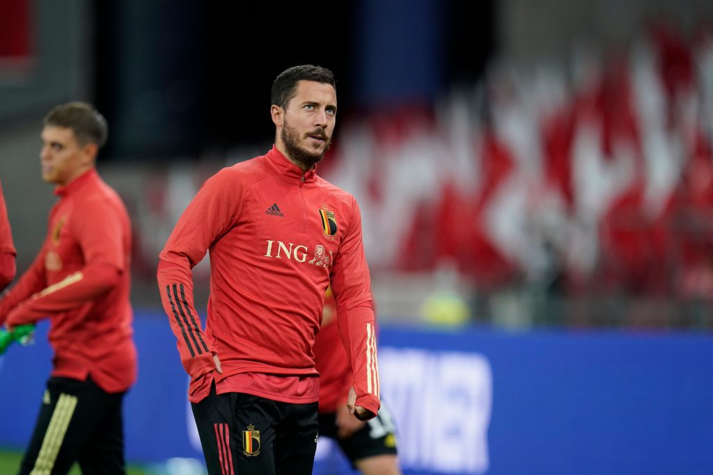 Manchester City eyeing a move for Eden Hazard who is seen in the picture