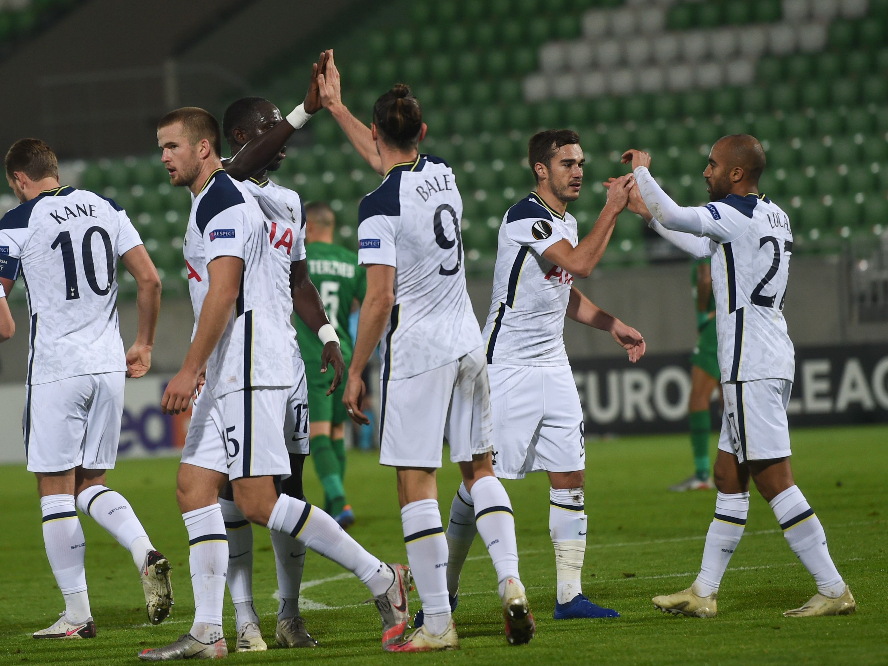 Tottenham Hotspur player ratings vs Ludogorets (Tottenham players are celebrating in the picture)