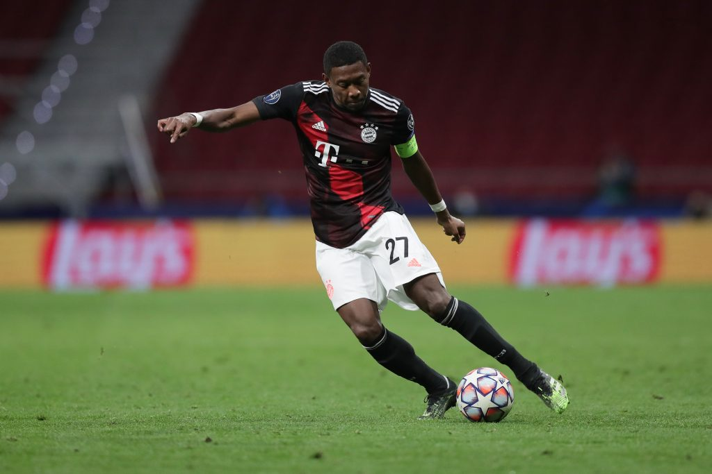 Manchester City among several clubs in the running for Alaba who is in action in the picture