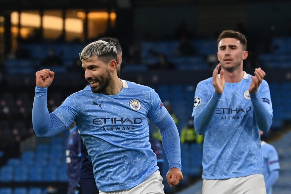 Manchester City Player Ratings Vs Marseille - Aguero celebrates