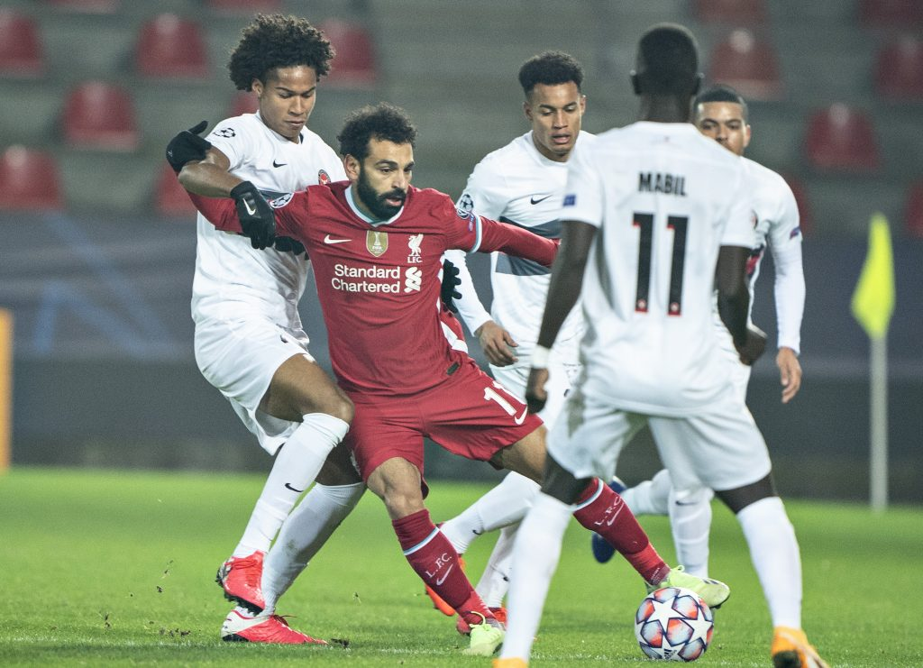 Liverpool players rated in hard-fought draw vs Midtjylland (Liverpool's Salah is seen in the photo)