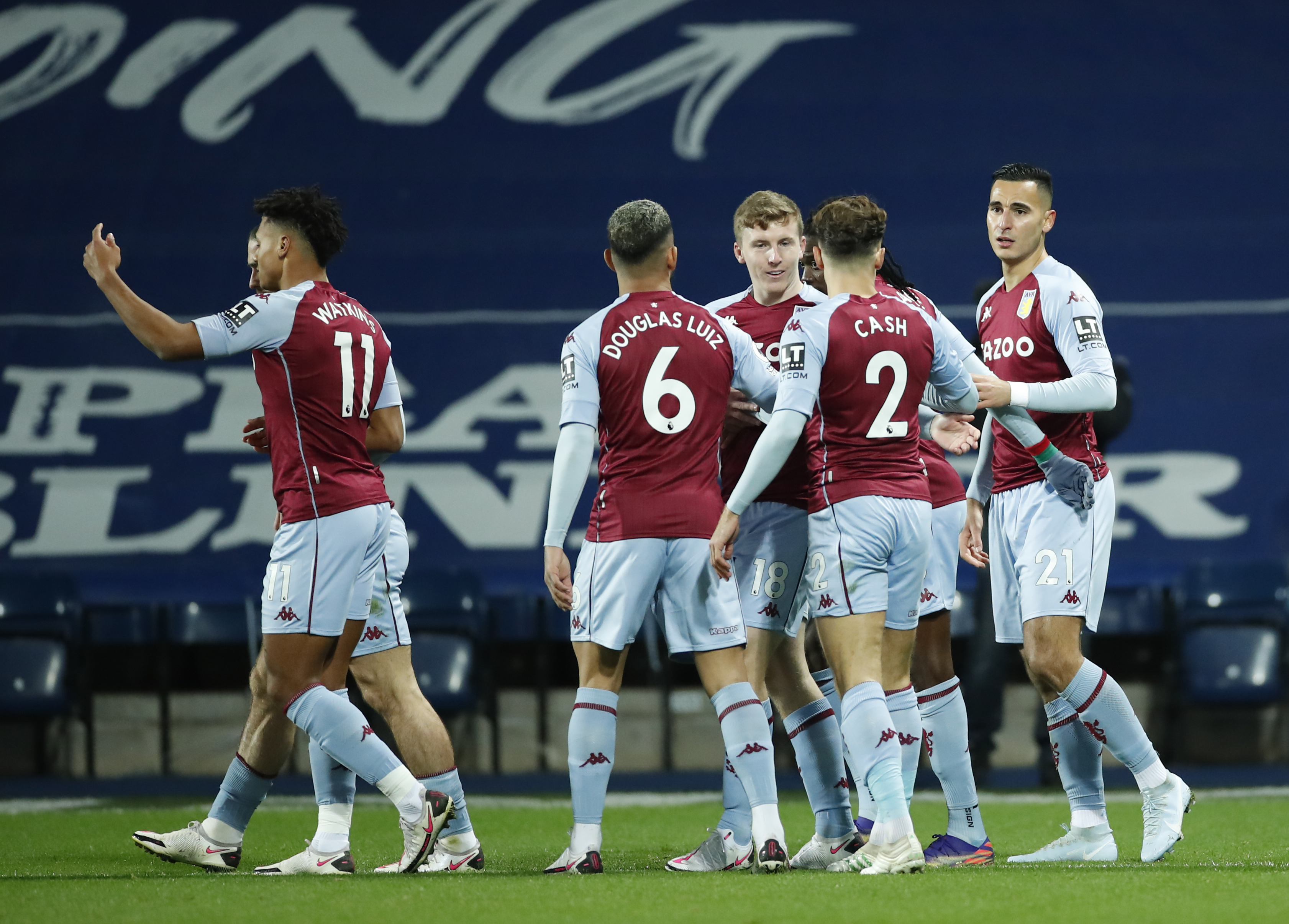 4-3-3 Aston Villa Predicted Lineup Vs Wolves (Aston Villa players are celebrating in the photo)