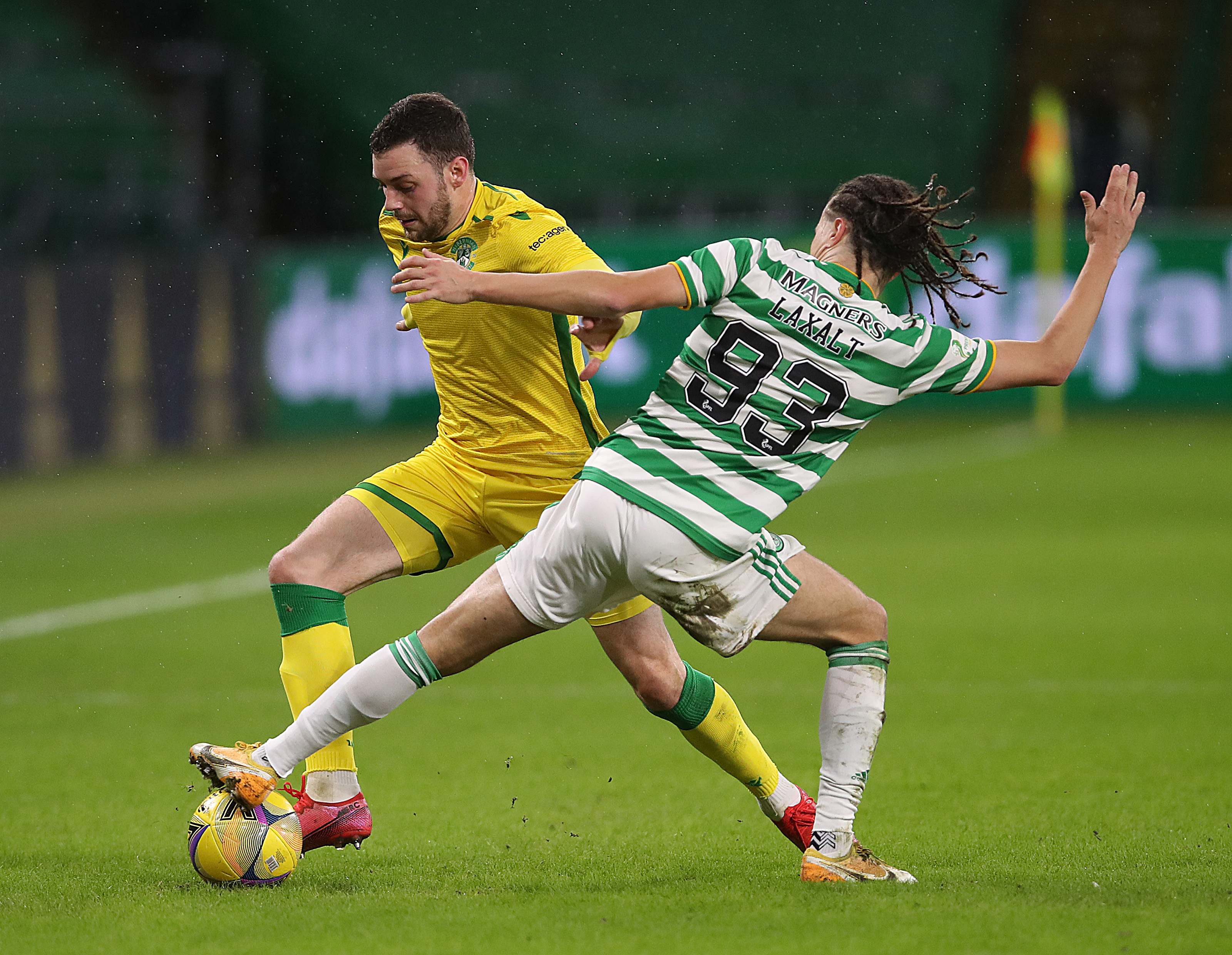 Celtic left-back Diego Laxalt in action against Hibernian
