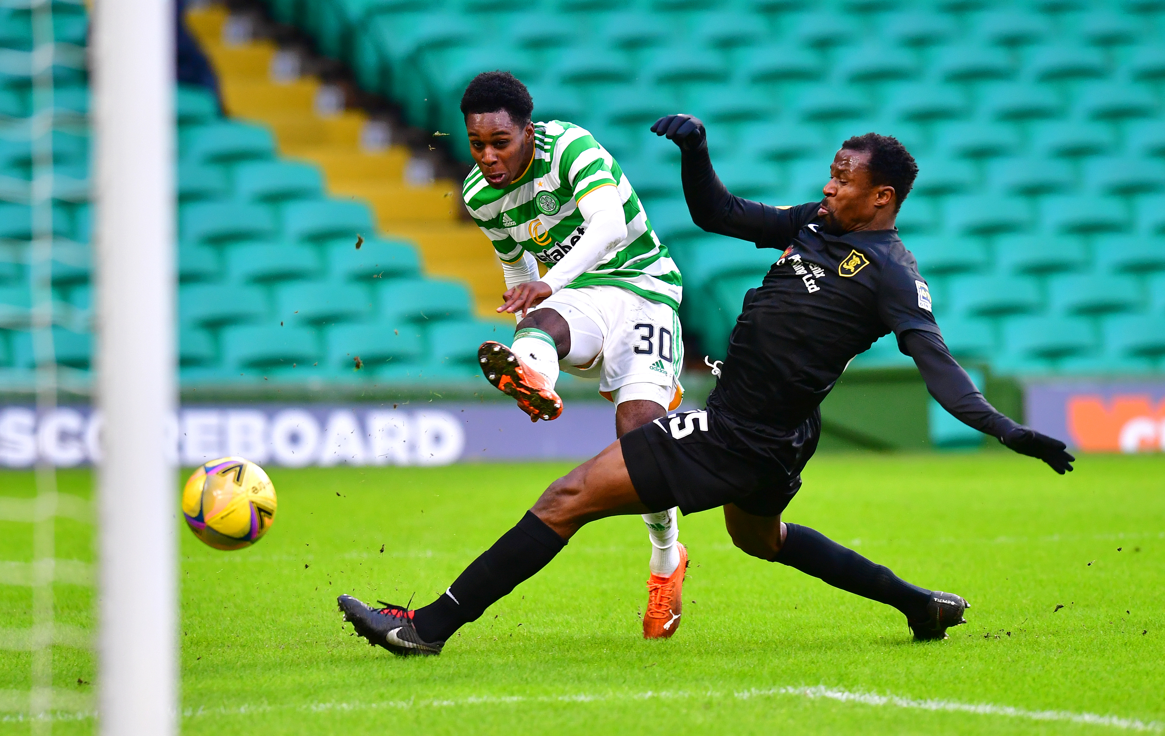 Jeremie Frimpong of Celtic is in action against Livingston