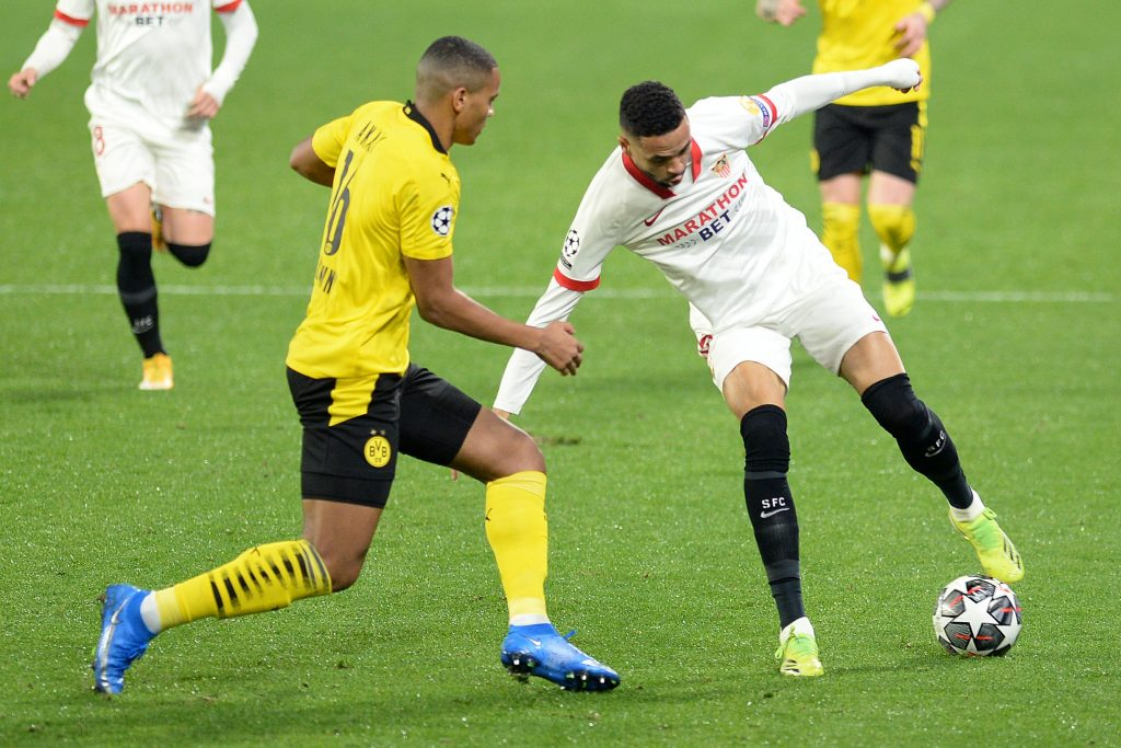 West Ham United made a €35m offer for Youssef En-Nesyri who is in action in the photo