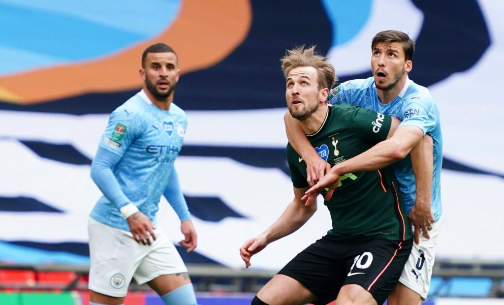 Man City's Dias set to be offered an improved contract (Dias is holding on to Kane in the picture)