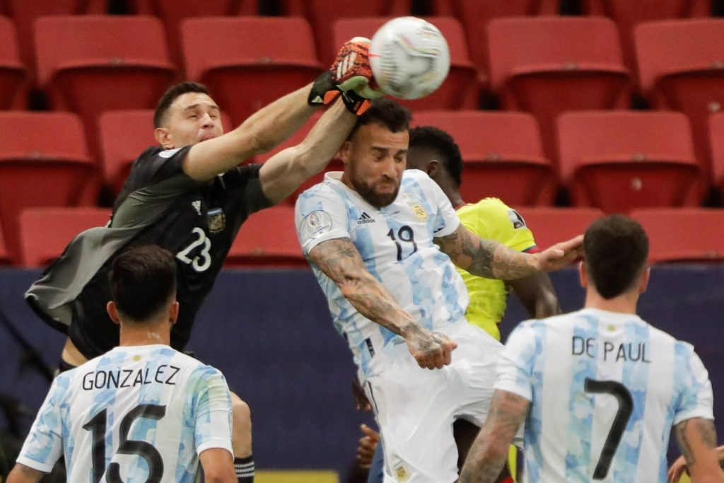 Argentina Players Rated In Vs Brazil (Nicolas Otamendi can be seen in the picture)