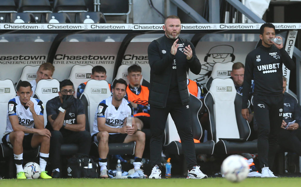 Derby County boss Wayne Rooney in the dugout